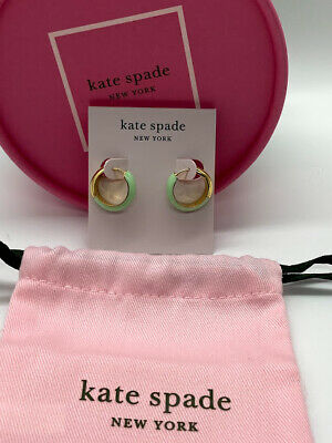 $ CDN35.11 • Buy Kate Spade Gold Tone Mint Green Candy Drops Huggie Earrings & Duster NWT
