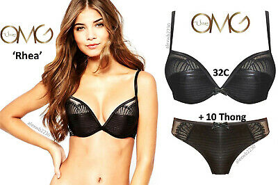 Ultimo OMG 'Rhea' Gel Padded Push-up Racer-back Plunge Bra Set: 32C & 10 Short • 32£