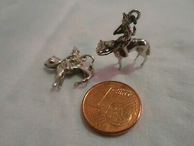 2 Items! SOLDIERS Charms On HORSES With GUNS SOLID Sterling Silver Pendant CHARM • 26.99£