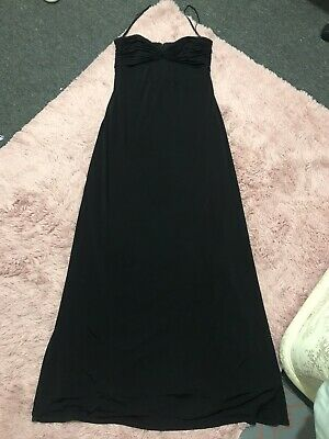 Ted Baker Full Length Black Nightevening Occasion Pleated Bust Maxi Dress Size12 • 13£