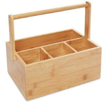 AU34.53 • Buy Bamboo Table Caddy Cutlery Utensil Holder With 4 Compartments And Handle Brown