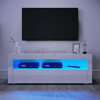 £79.99 • Buy High Gloss LED TV Stand Cabinet Glossy 2 Drawers Entertainment Unit For 55  TV