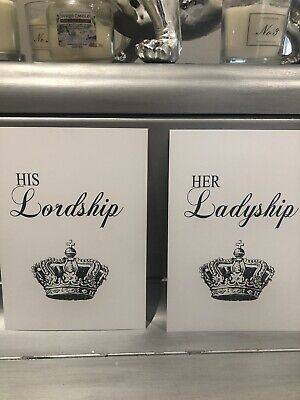 His & Hers Wall Art Print X 2 Typography KING QUEEN Lordship Crown HOME Picture • 4.99£