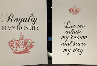 Motivational Wall Art Print Typography QUEEN Crown Home Picture A4 Princess X2 • 4.99£