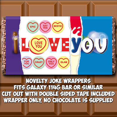 I Love You Chocolate Bar Wrapper Novelty Birthday Gift Joke Funny Mothers Day  • 1.85£