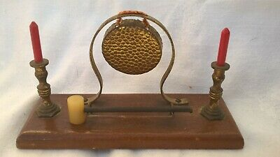 Small Ornamental Brass Gong On Wooden Plinth With Candlesticks.Detachable Mallet • 0.99£