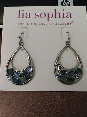 $ CDN7.63 • Buy Lia Sophia Silver Teardrop Shaped Earrings With Blue And Green Stones & Crystals