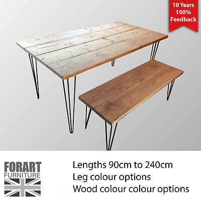 Dining Table - Bench - Steel Hairpin Leg - Rustic, Reclaimed, Wood, Metal • 220£