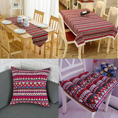 AU9.64 • Buy Boho Tablecloth Red Vintage Lace Dining Table Runner Cloth Cover Kitchen Decor
