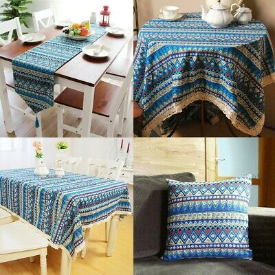 AU30.02 • Buy Vintage Boho Tassel Lace Tablecloth Table Runner Cover Dining Party Home Decor