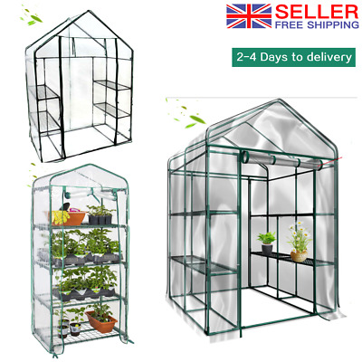 New Walk In Greenhouse PVC Plastic Garden Grow Green House With 4 Or 8 Shelves • 55.99£