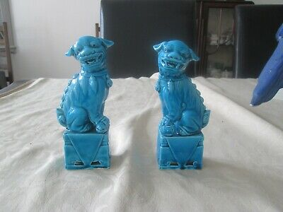 """Pair Of 6"""" Turquoise Blue Porcelain Chinese Foo Dogs • 65£"""