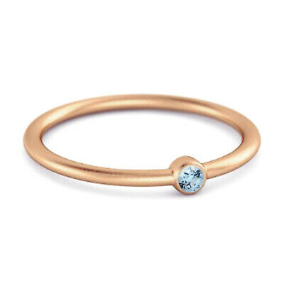 AU136.61 • Buy Solitaire 9K Rose Gold 0.1 Cts Blue Topaz Gemstone Stackable Ring