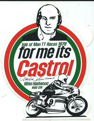 Original. Castrol. Mike Hailwood. 1978. Sticker. Isle Of Man Tt Races. Manx. Mgp • 2£