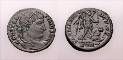 A Genuine Roman Bronze Coin Of The Constantine Period Trier Mint • 2.20£