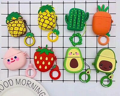 $ CDN5.86 • Buy For Apple AirPods Case 2 /1 Silicone Protector Fruits Full Case Cover + Keychain