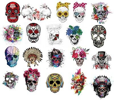 £4.79 • Buy  Iron On Large Heat Transfer, Skull, Face, Punk Rock, Snakes GREAT DESIGNS 1402
