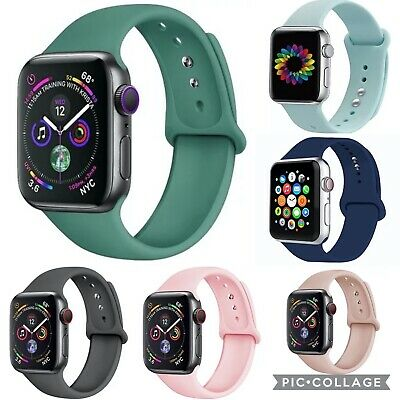 $ CDN8.77 • Buy Silicone Band Strap For Apple Watch Series 6 5 4 3 2 1 & SE 38mm 40mm 42mm 44mm