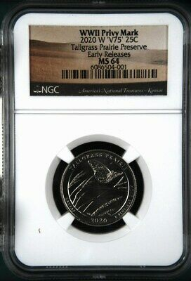 $ CDN36.26 • Buy 2020 W Tallgrass Prairie NGC MS 64 - V75 WWII Privy Mark