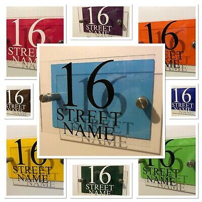 £6.50 • Buy Modern HOUSE PLAQUES / PLAQUE / DOOR / NUMBER / GLASS EFFECT ACRYLIC / Wall Sign