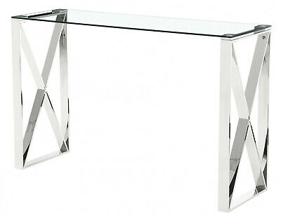 Console Hall Table Display Stand Clear Tempered Glass Top Stainless Steel Frame • 139.99£