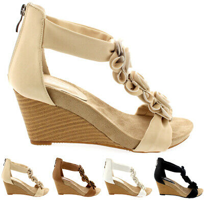 Ladies Dress Floral Wedges Open Toe Zip Summer Strappy Holiday Sandals All Sizes • 18.99£
