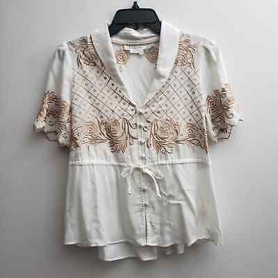 $ CDN30.57 • Buy Anthropologie Blouse Sz 2 White Tan Floral Embroidered Short Sleeves
