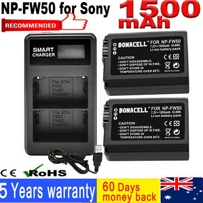 AU28.99 • Buy 2X 1500mAh NP-FW50 Battery + Dual Charger For Sony Alpha A5000 A6300 A3000 A7 OH