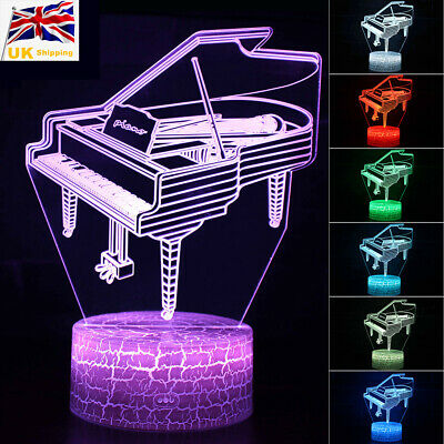 3D Piano Model Lamp Musical Instrument Touch/Remote LED Night Light Kid Toy Gift • 11.99£
