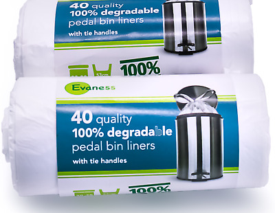 £6.99 • Buy Evaness 100% Degradable Pedal Bin Liners With Tie Handles  30L X 80 Bags - Bio