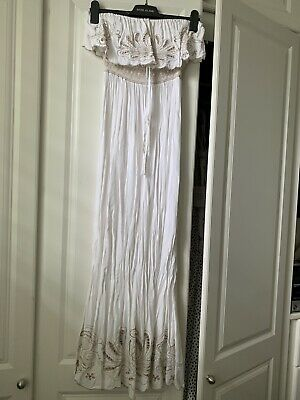 New Look White & Beige Maxi Long Dress Strapless Bandeau Cut Out Embroidery 8  • 4.99£