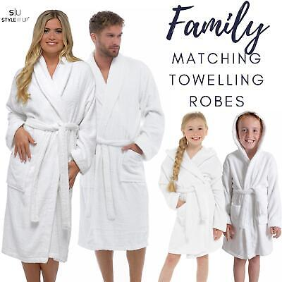 £11.99 • Buy Family Matching Cotton Towelling Towel Bath Robe Gown Mens Ladies Kids Unisex
