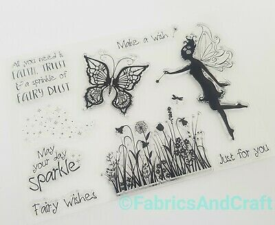 £5.50 • Buy Fairy Wishes Clear Stamps-sentiments/words/fairies/butterfly Silicone Stamp-dust