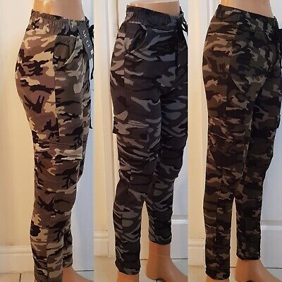 £7.99 • Buy Ladies Womens Combat Trousers Cargo Jogging Bottoms Camo  Pockets Slim Joggers