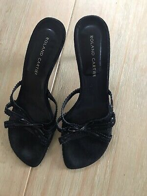 Roland Cartier Black Leather Strappy Mules Size 39 • 4.99£