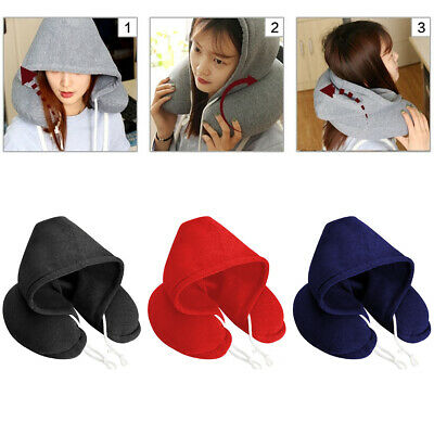 AU14.99 • Buy Soft Comfortable Hooded Neck Travel Pillow U Shape Airplane Pillow With Hoodie