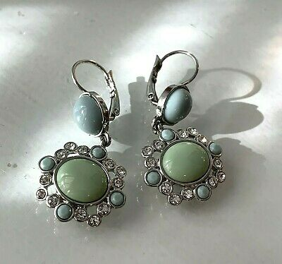 $ CDN12.67 • Buy Lia Sophia Statement Earrings Blue Mint Green Austrian Crystals Resin