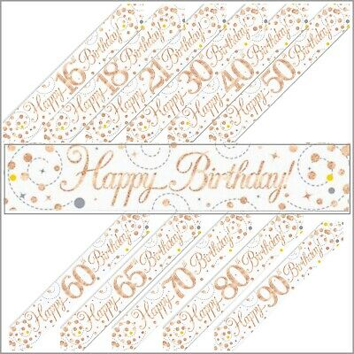 £1.69 • Buy Rose Gold Sparkling Fizz Holographic Foil Birthday Banner & Balloon Decorations
