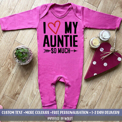 I Love My Auntie BABYGROW Funny Super Cute Niece Baby Grow Personalised Gift Set • 14.99£