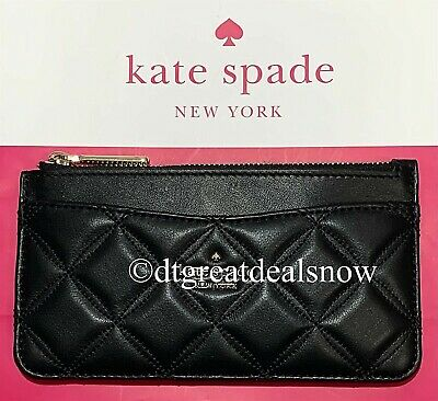 $ CDN75.74 • Buy NWT Kate Spade Large Slim Card Holder Wallet Natalia Black Quilted Leather