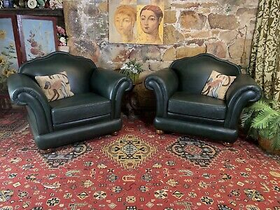 AU54 • Buy Pair Vintage Chesterfield Leather Armchairs Lounge Chair~Tub~Emerald Green