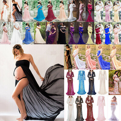 AU35.43 • Buy Women Pregnant Maternity Lace Dress Gown Party Long Dress Photography Shooting