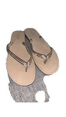 Monsoon Rose Gold Italian Leather Flip Flops Size 6 Ladies • 9.99£