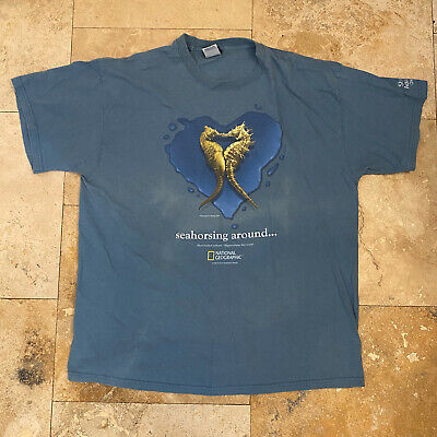 $ CDN40.41 • Buy Vintage National Geographic Seahorse Nature T-Shirt 2002 Size XL