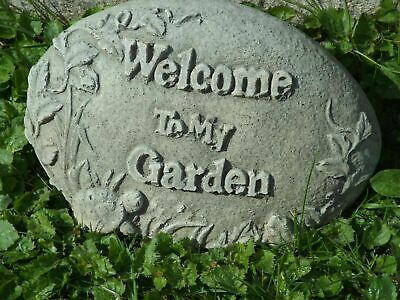 Latex & Fibreglass Mould To Make A Welcome To My Garden Rock Concrete Ornament • 95£
