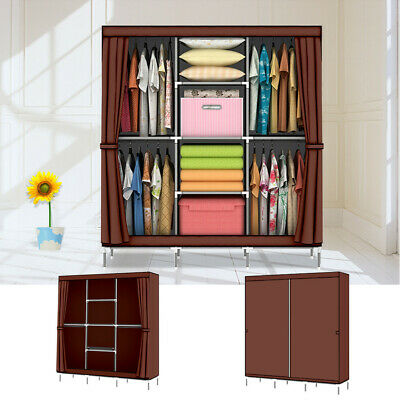 Portable Large Fabric Canvas Wardrobe Clothes Storage Rail Cover Cupboard New UK • 20.39£