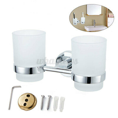 Double Tumbler Cup Toothbrush Holder Wall Mounted For Bathroom + 2* Glass  • 10.82£