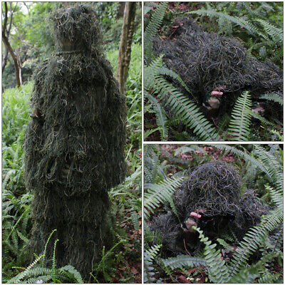 Camo Woodland Camo / Camouflage Hunting 3D Ghillie Burlap Suit Free Size Larg • 25.93£