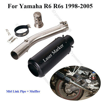 $91.65 • Buy For Yamaha YZF R6 1998-2005 Motorcycle Exhaust Silencer Muffler Middle Link Pipe