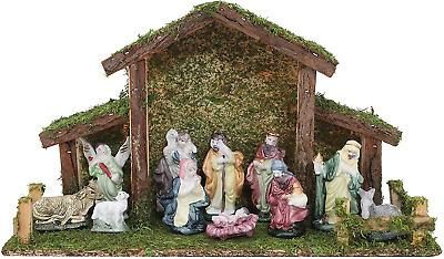 £8.32 • Buy Toyland® Traditional Christmas Nativity Scene - Stable With 11 Nativity Figures